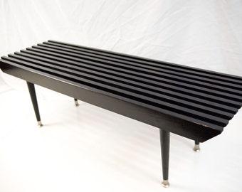 Small High Gloss Black Slat Bench/Table