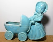 Vintage Planter, Lady with Carriage, Blue, Girl with Baby Buggy, Baby Planter, Nursery, Baby Shower Gift, Nursery Room Decor