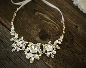 Bold Crystal Necklace - Wedding Jewelry - Gold Bridal Necklace - Bib Crystal Statement Necklace, Bridal Jewelry - Fenna
