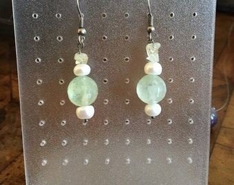Earrings fluorite & cultured pearl (No. OR3)