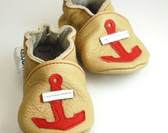 soft sole baby shoes infant kids children anchor white red beige 6 12 ebooba AN-4-BE-T-2
