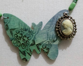 Butterfly Cameo Necklace