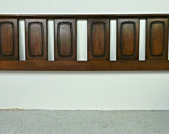 mid century modern walnut Broyhill Emphasis King size architectural headboard