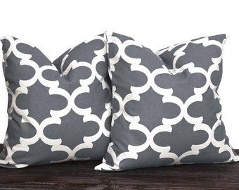 10 Sizes Available - Gray and White Lattice Pillow Set - Neutral Pillow Covers - Grey and White - TWO PILLOW COVERS - Quatrefoil - Trellis