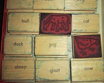 Vintage 12 Pictoral Rubber stamps