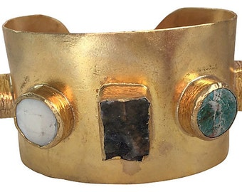 Modernist Semi-Precious Stone Cuff