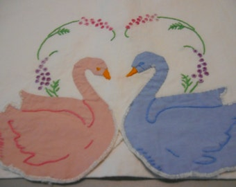 Vintage embroidered pillowcase, Vintage linen, Pillowcase, Swans, Needlework, Embroidery, Applique