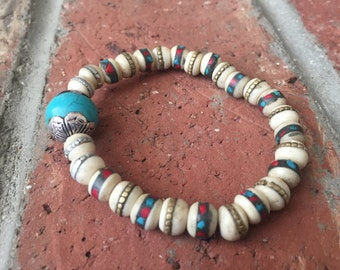 Turquoise and Coral Inlaid Bone Beads with Turquoise Repousse Bead