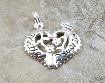 Sterling Silver Mother/Daughter Breakable Heart Charm with Sterling Silver Split Rings - 0720