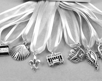 Wedding Cake Pull Charms / New Orleans Theme / Sterling Silver / Set of 9