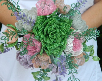 Pastel French Beaded Flower Bridal Bouquet