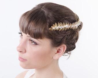 Golden Leaf Grecian Headband Goddess Headband Roman crown Laurel Leaf Crown wedding Headpiece Bridal accessory adult wedding hairband