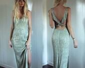 SALE Heavy Beaded Stunning Low Back Light Green Dress