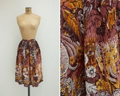 1950s Skirt - Vintage 50s Tropical Rayon Skirt - Jungla Skirt