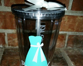 Personal Attendant Gift - Personalized Wedding Tumbler- You choose Colors
