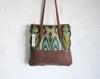 Handwoven silk and leather shoulder bag tote style ikat bag ikat purse leather bag