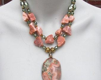 Chunky Quartz Statement Necklace, Big Bold Chunky Necklace, Huge Jasper Pendant, Unakite Pendant, Raw Peach Quartz, Crystal Accents  1044