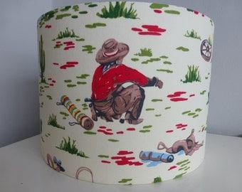 Cath Kidston Cream*Red*Yellow Cowboy Wild West Fabric Children Bedroom *Nursery Drum Lampshade ~ 30 & 20cm diameter