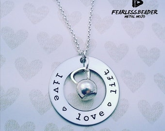 Kettlebell Necklace, Live Love Lift Necklace, Weightlifting, Fitness Necklace, Fitness Motivation, Gym Motivation, Kettlebell Jewelry, Gym