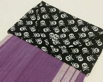 Skulls Hanging Kitchen Towel, Button Top Dish Towel, Halloween, Pirates, Gothic Home Decor, Purple, Black, Spooky, Whimsical, Boogram