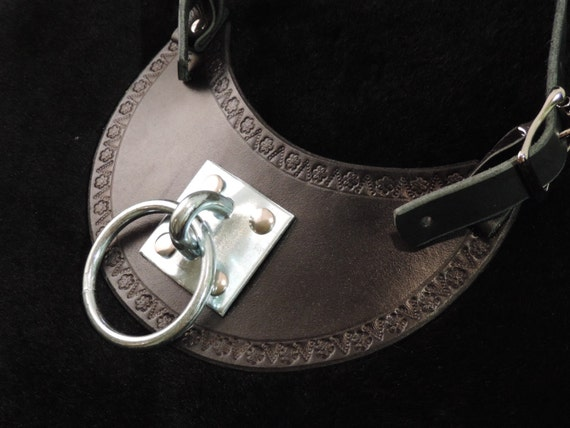 Stylish Hand Made Black Molded Leather Collar Gorget