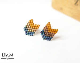 Earrings Woven Chevron Miyuki seed, Camel and Blue Lily.M