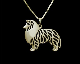 Standing Rough Collie jewelry - Gold pendant and necklace