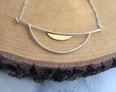 Silver Semi Circle Half Moon Necklace