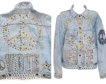 Katharine Hamnett VOTE Studded Denim Jacket 1980s Vintage Jeans Jacket Peace Symbol One-Size
