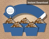 Solid Navy Blue Cupcake Wrapper Instant Download, Party Decorations