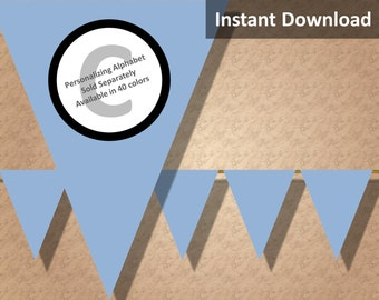 Baby Blue Solid Birthday Party Bunting Pennant Banner Instant Download, Party Decorations