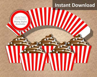 Red, White Stripe Cupcake Wrapper Instant Download, Movie Night, Circus, Whimsical, Party Decorations