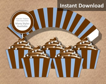 Baby Blue and Brown Stripe Cupcake Wrapper Instant Download, Boy Baby Shower, Party Decorations