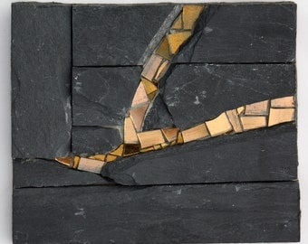 Slate Abstract #1 (Stone and Glass Mosaic)