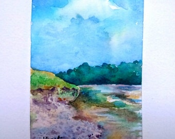 Original aceo painting, watercolor aceo landscape, artist trading card, atc, hand made aceo, hand painted aceo,watercolor miniature painting