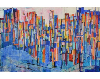 Art print of colorful blue and red modern abstract landscape, giclee print of original painting by Janice Reuland, 8 x 12, 12 x 18, 16 x 24