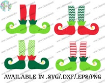 Digital Cut File, Elf Legs, SVG, DXF, EPS, Christmas, Chevron, Polka, Vinyl Cutting File, Santa, Santa's Helper, Vector, Silhouette, Cricut