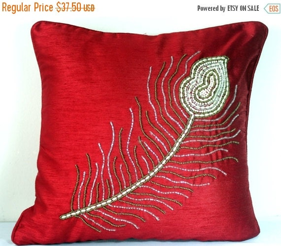 Red Silk Decorative Pillows : Decorative Pillow Covers Accent Pillows Red Silk by TheHomeCorner