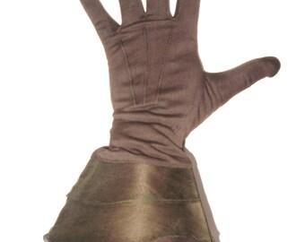 DECO Vintage 1930s KAYSER Brown Rayon Organdy Knit NOUVEAU Gauntlet Cuff Gloves Edwardian Downton Gatsby Fashion New with Tags Czech Sz 6/7