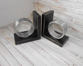 Preppy Bookends - Wood and Metal Bookends - Modern Bookends - Upcycled Bookends - Black Bookends - Bookends