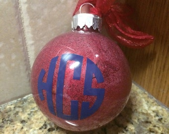 Monogrammed Christmas Ornament - Christmas Monogram - Shatterprooof Christmas Ornament - Personalized Christmas Ornament
