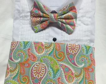 Orange, Lime Green and Gray Paisley Cummerbund for a wedding or formal event