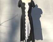 size S-M / 1950s black and white cotton tuxedo dress