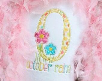 Spring Flower Garden Monogram Applique shirt - Customizable -  Infant to Youth 104