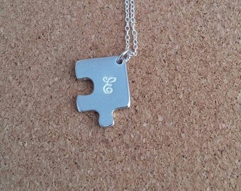 Letter E Necklace Jigsaw Silver Pendant Puzzle Silver Necklace Personalised Jigsaw Silver Jigsaw Personalized Necklace