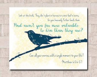 Matthew 6: 26  Digital Art, Printable JPEG Wall Decor,  Bible Quote, Scripture Art, Do Not Worry, bird silhouette, Matthew 6 printable
