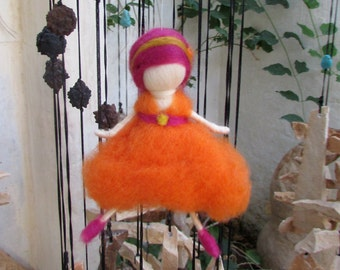 Orange Fairy,Needle Felting,Waldorf Fairy,Nursery Decor,Gift for Her,Girl Power,Faerie