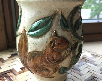 Carved Stoneware Vase with Squirrel