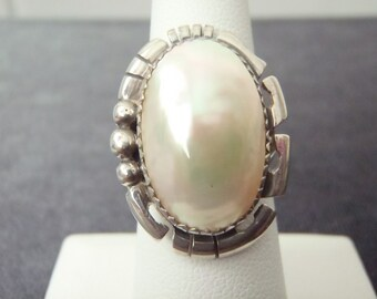 Sterling Silver Oblong Pearl Ring Sz.6 1/2 R116