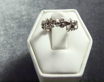 Sterling Silver Plumeria Band Ring Sz 4 1/4 R86